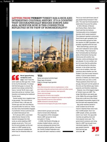 "Murat Renay's GT MAGAZINE ""Letter From Turkey"" article"