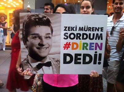 As a gay icon Zeki Müren was a subject of LGBT Gezi Resistance and LGBT Pride March  in June 2013